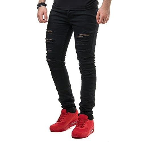 New Stone Herren Jeans Hose Slim Fit Destroyed