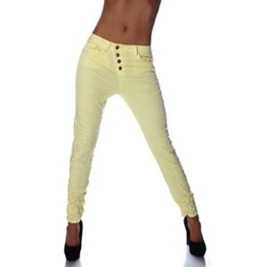 Fashion4Young Damen Jeans Hose gelb
