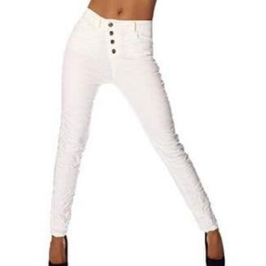 Fashion4Young Damen Jeans Hose weiss